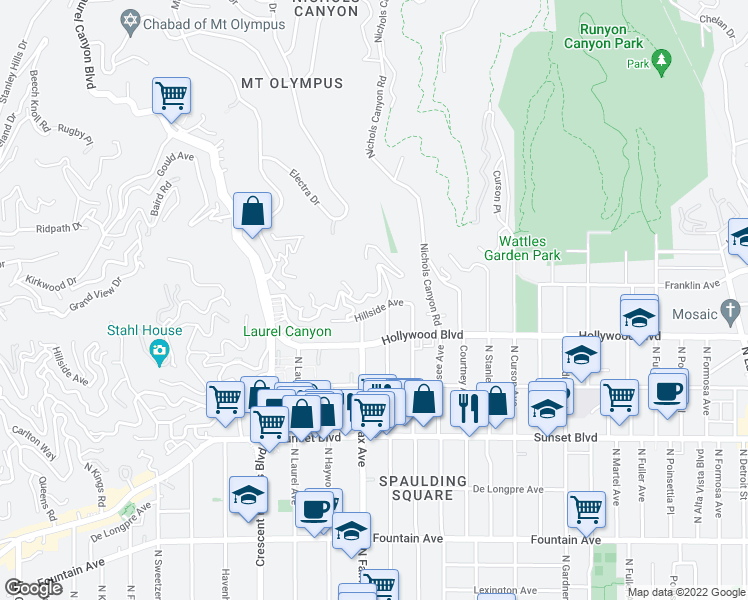 map of restaurants, bars, coffee shops, grocery stores, and more near 7866 Fareholm Dr in Los Angeles