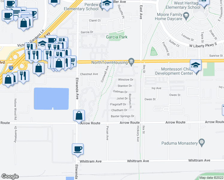 map of restaurants, bars, coffee shops, grocery stores, and more near 8358 Pecan Avenue in Rancho Cucamonga