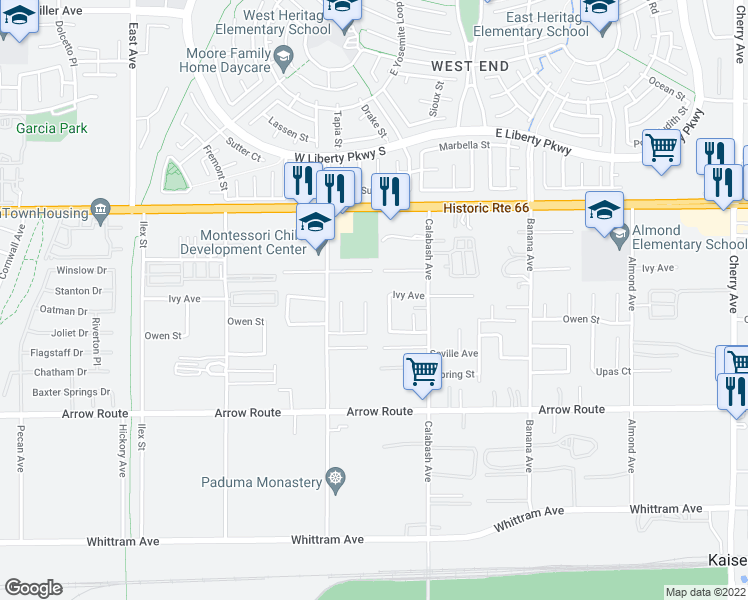 map of restaurants, bars, coffee shops, grocery stores, and more near 8303 Mercedes Court in Fontana