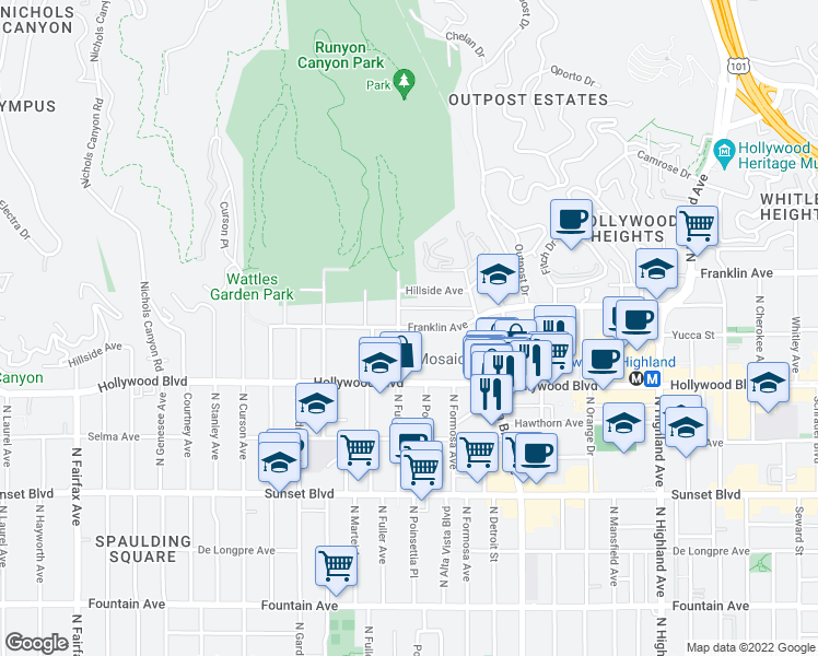 map of restaurants, bars, coffee shops, grocery stores, and more near 7275 Franklin Avenue in Los Angeles