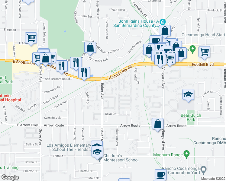 map of restaurants, bars, coffee shops, grocery stores, and more near 8275 Sutterhome Place in Rancho Cucamonga