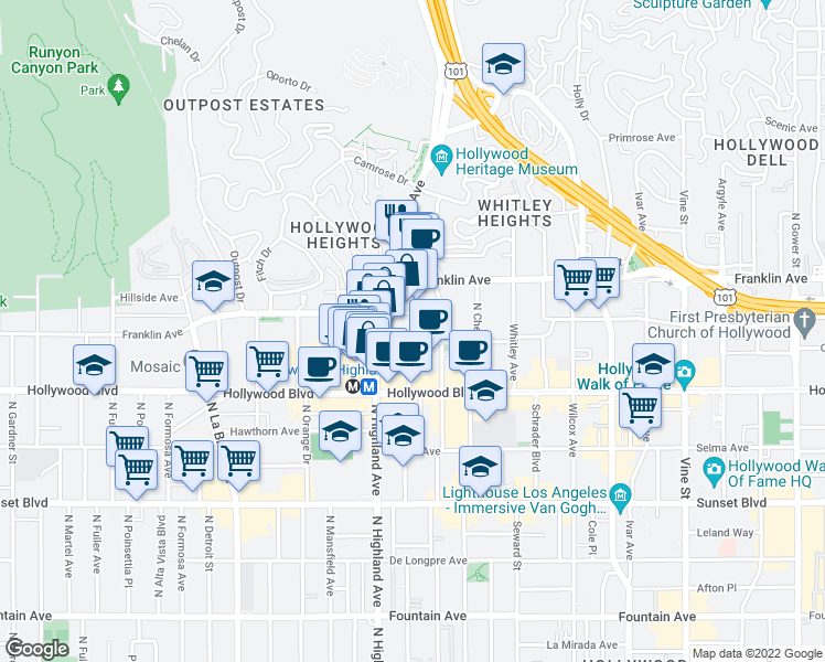 map of restaurants, bars, coffee shops, grocery stores, and more near 6735 Yucca Street in Los Angeles