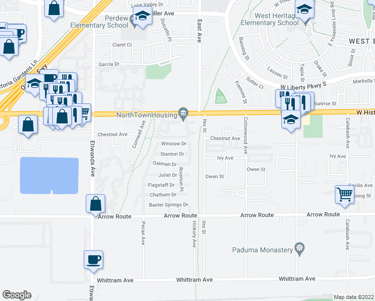 map of restaurants, bars, coffee shops, grocery stores, and more near 13258 Stanton Drive in Rancho Cucamonga
