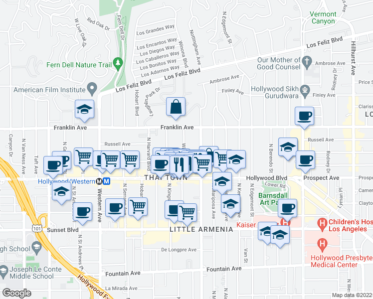 map of restaurants, bars, coffee shops, grocery stores, and more near 1800 Winona Boulevard in Los Angeles