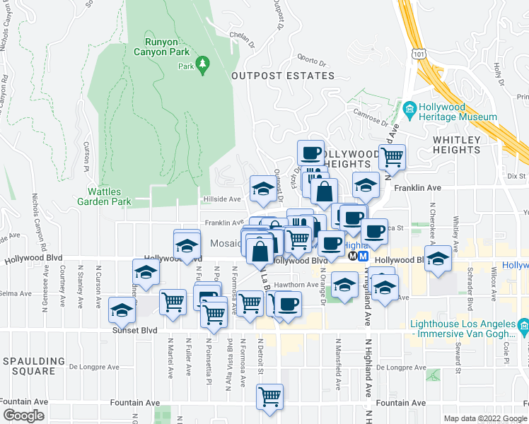 map of restaurants, bars, coffee shops, grocery stores, and more near 7101-7163 Franklin Avenue in Los Angeles