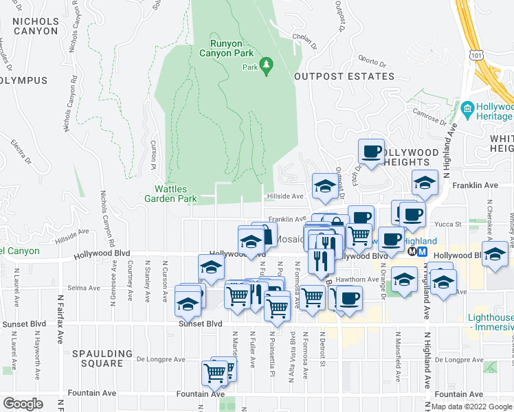 map of restaurants, bars, coffee shops, grocery stores, and more near 1823 North Fuller Avenue in Los Angeles