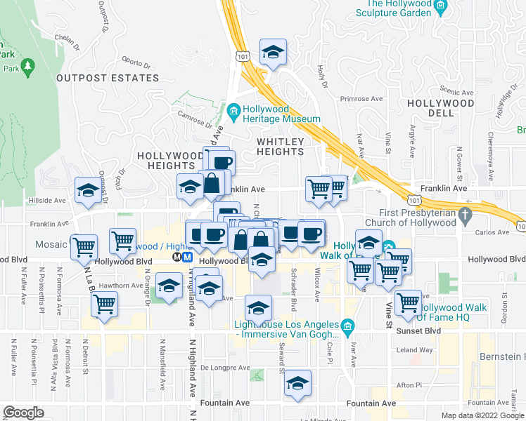 map of restaurants, bars, coffee shops, grocery stores, and more near 1830 North Cherokee Avenue in Los Angeles