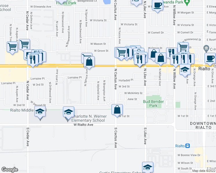 map of restaurants, bars, coffee shops, grocery stores, and more near 296 North Fillmore Avenue in Rialto