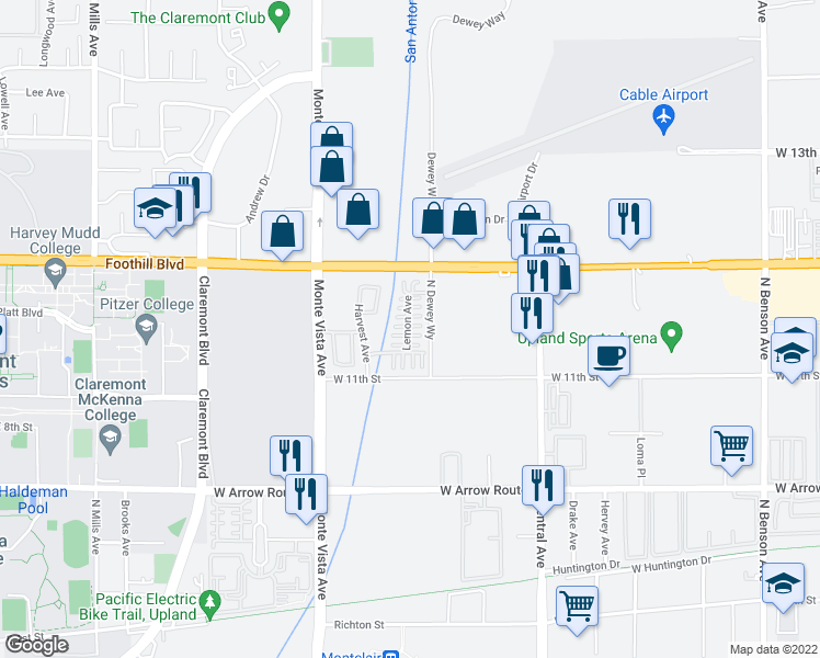 map of restaurants, bars, coffee shops, grocery stores, and more near 2266 Strawberry Court in Upland