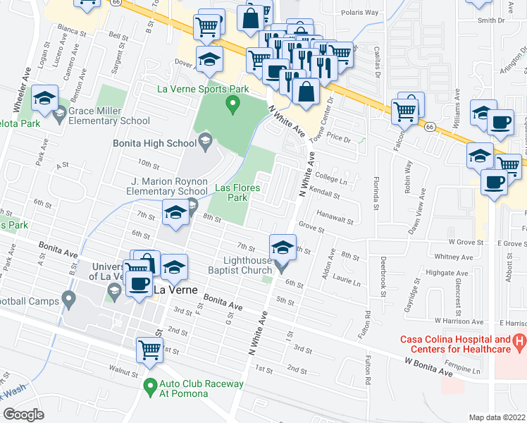map of restaurants, bars, coffee shops, grocery stores, and more near Pepper Street in La Verne