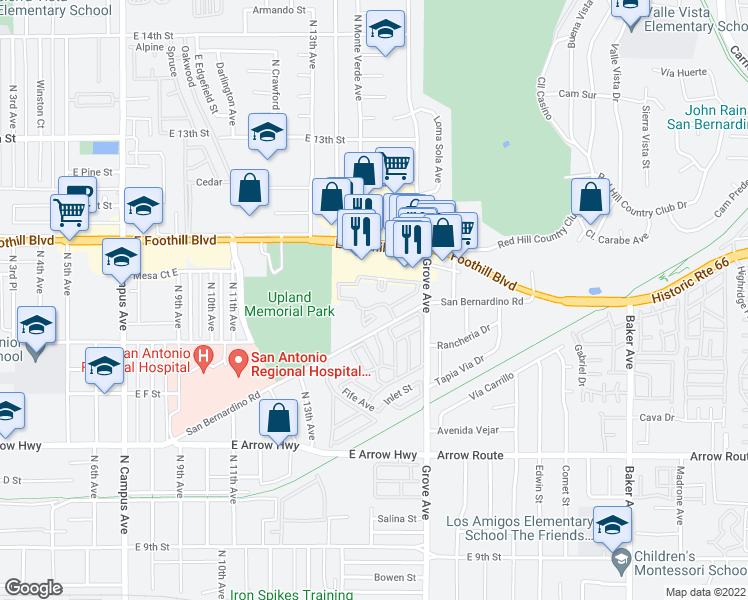 map of restaurants, bars, coffee shops, grocery stores, and more near 1413 San Bernardino Road in Upland