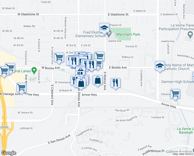map of restaurants, bars, coffee shops, grocery stores, and more near 251 South Walnut Avenue in San Dimas