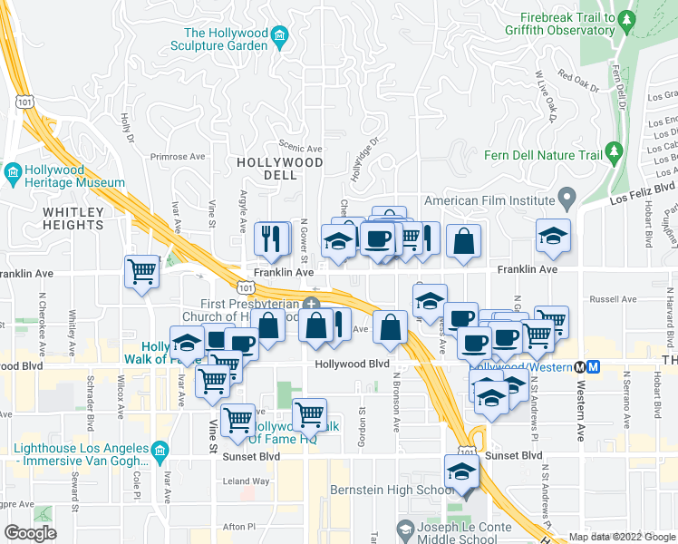 map of restaurants, bars, coffee shops, grocery stores, and more near 5973 Franklin Avenue in Los Angeles