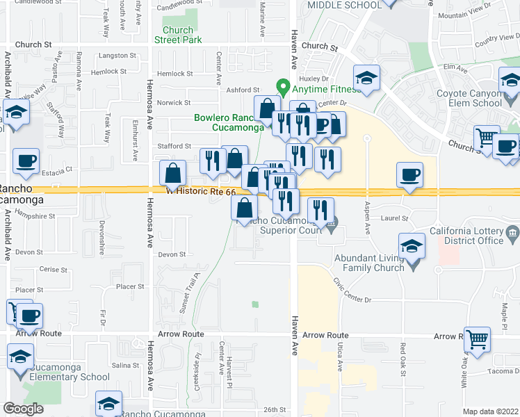 map of restaurants, bars, coffee shops, grocery stores, and more near 8200 Haven Avenue in Rancho Cucamonga