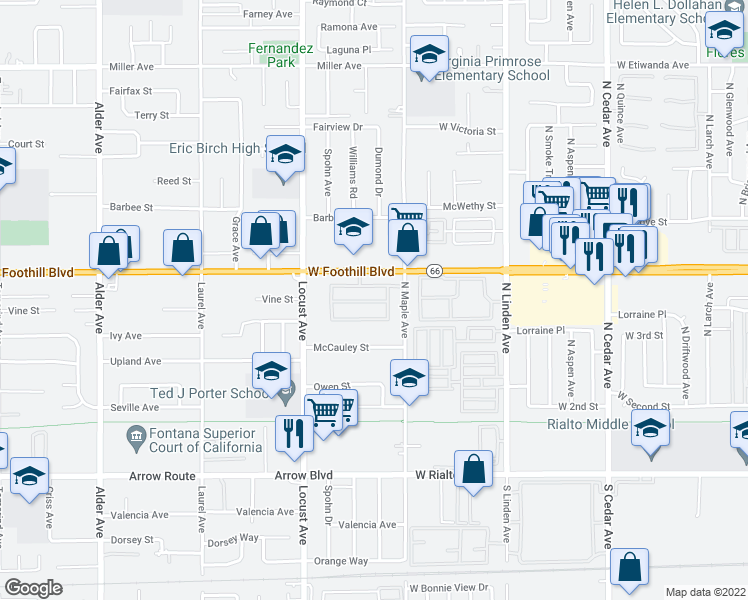 map of restaurants, bars, coffee shops, grocery stores, and more near 18215 Foothill Blvd in Fontana
