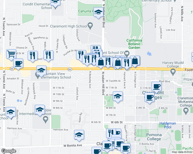 map of restaurants, bars, coffee shops, grocery stores, and more near 430 Baughman Ave in Claremont