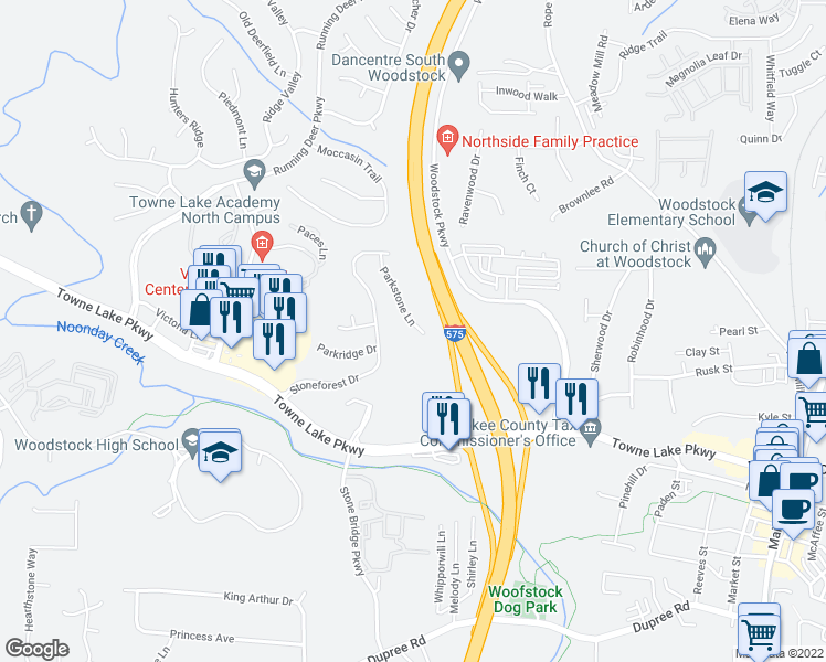 map of restaurants, bars, coffee shops, grocery stores, and more near 536 Parkstone Lane in Woodstock
