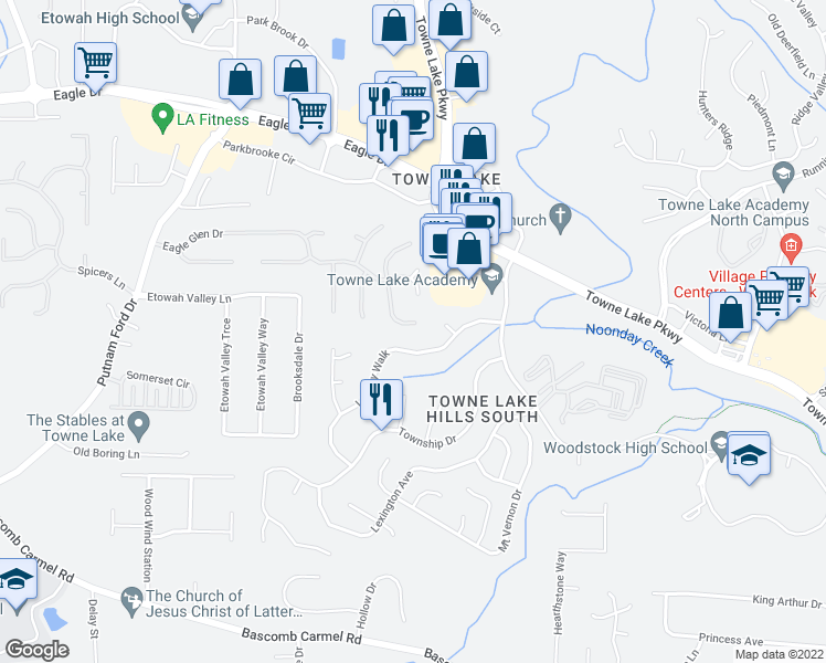 map of restaurants, bars, coffee shops, grocery stores, and more near 840 Eagle Glen Crossing in Woodstock