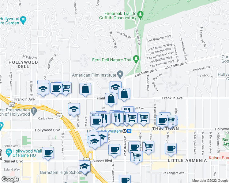 map of restaurants, bars, coffee shops, grocery stores, and more near 5573-5583 Franklin Avenue in Los Angeles