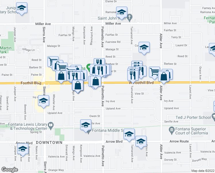 map of restaurants, bars, coffee shops, grocery stores, and more near 8185 Palmetto Avenue in Fontana