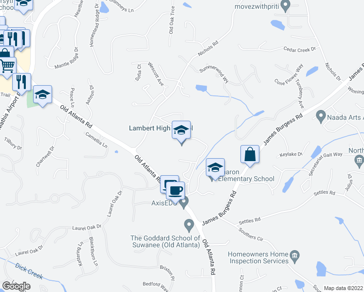 map of restaurants, bars, coffee shops, grocery stores, and more near 805 Nichols Road in Suwanee