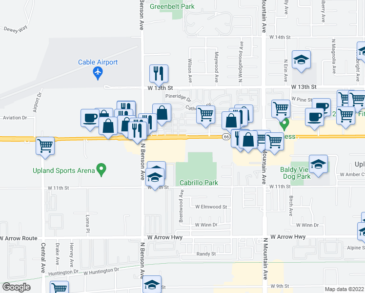 map of restaurants, bars, coffee shops, grocery stores, and more near 1460 West Foothill Boulevard in Upland