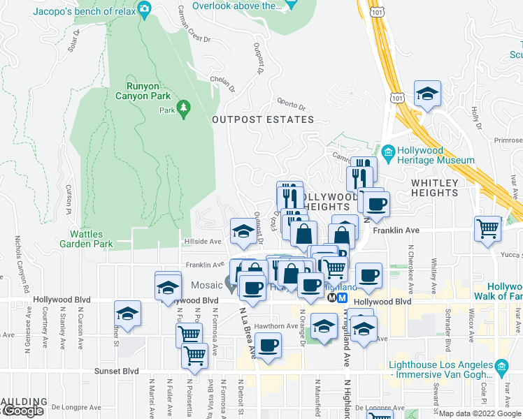 map of restaurants, bars, coffee shops, grocery stores, and more near 1910 Outpost Dr in Los Angeles