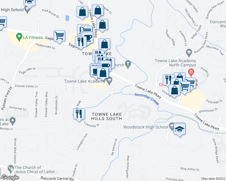 map of restaurants, bars, coffee shops, grocery stores, and more near 1323-1399 Towne Lake Hills South Drive in Woodstock