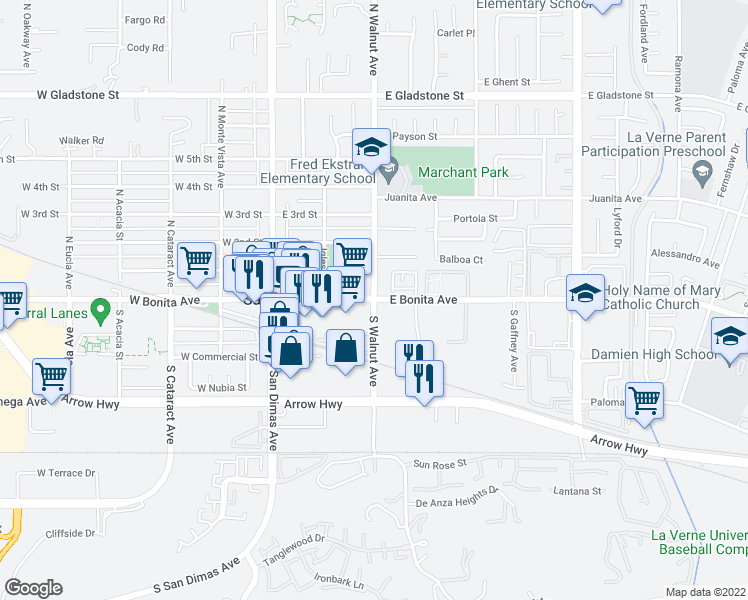map of restaurants, bars, coffee shops, grocery stores, and more near E Bonita Ave & N Walnut Ave in San Dimas