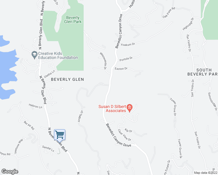 map of restaurants, bars, coffee shops, grocery stores, and more near 2001 Benedict Canyon Drive in Beverly Hills