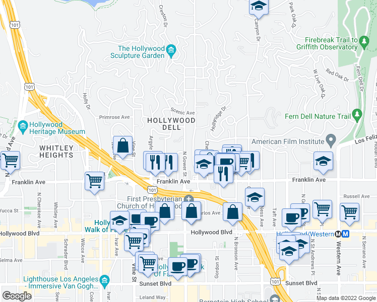 map of restaurants, bars, coffee shops, grocery stores, and more near 2001 North Beachwood Drive in Los Angeles
