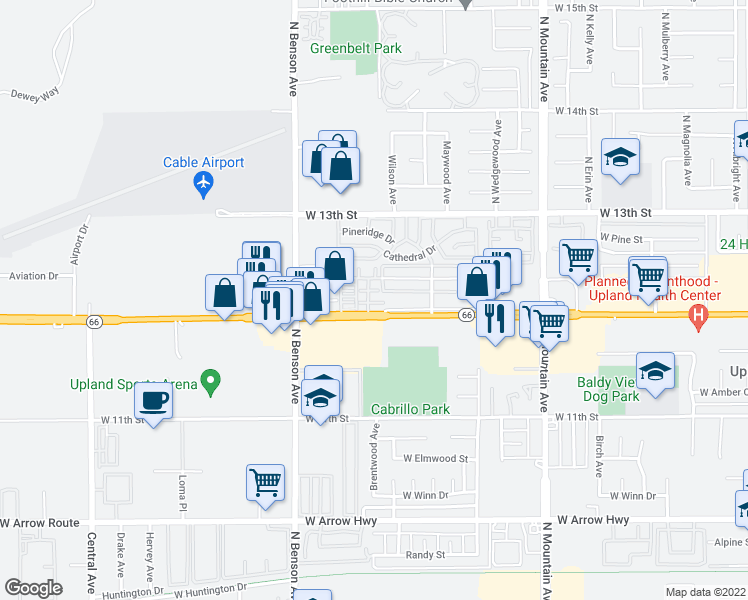 map of restaurants, bars, coffee shops, grocery stores, and more near 1481 Amsterdam Court in Upland
