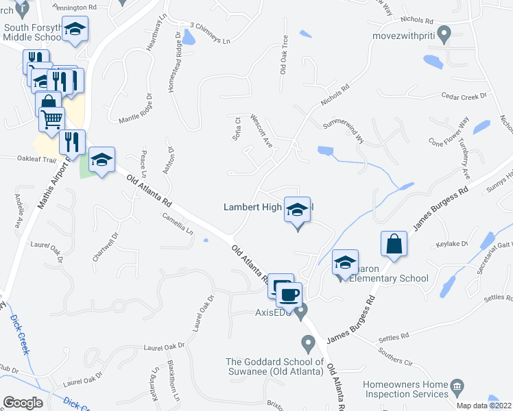map of restaurants, bars, coffee shops, grocery stores, and more near 923-985 Nichols Road in Suwanee