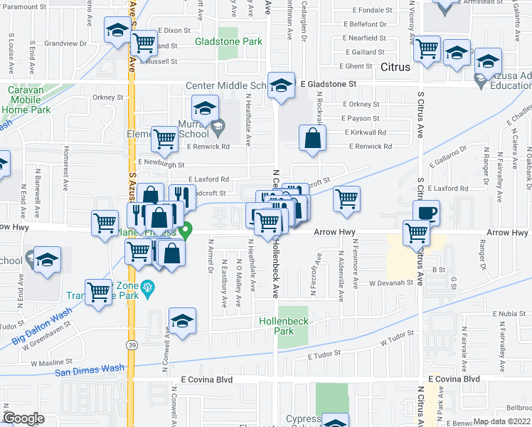 map of restaurants, bars, coffee shops, grocery stores, and more near 821 South Cerritos Avenue in Azusa
