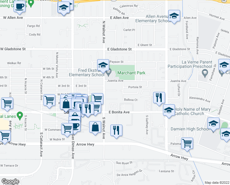 map of restaurants, bars, coffee shops, grocery stores, and more near 330 Moore Lane in San Dimas