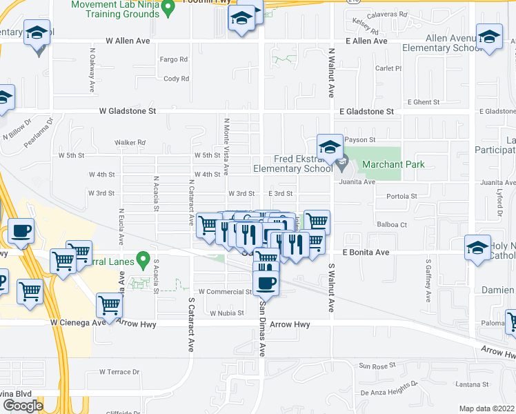 map of restaurants, bars, coffee shops, grocery stores, and more near 205 North San Dimas Avenue in San Dimas