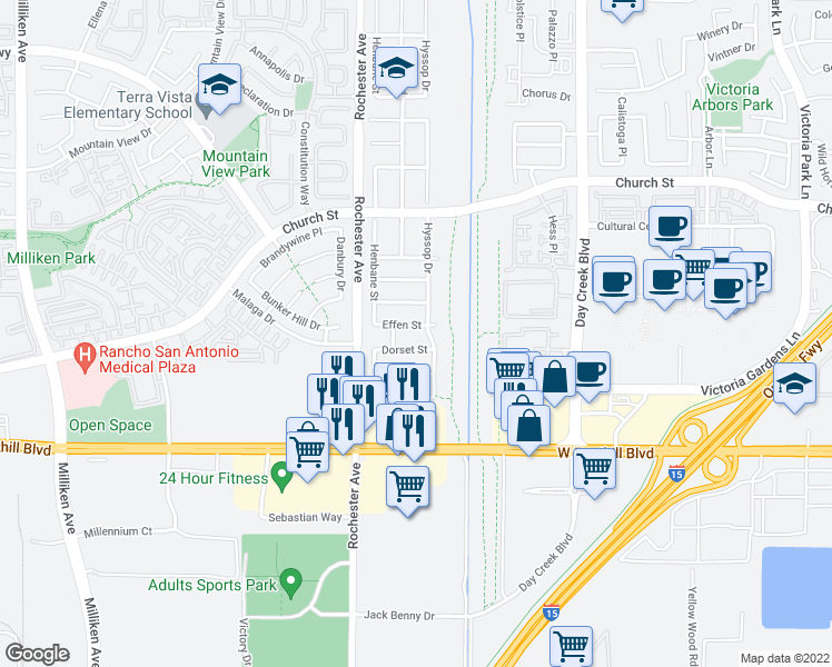 map of restaurants, bars, coffee shops, grocery stores, and more near 12001 Effen Street in Rancho Cucamonga