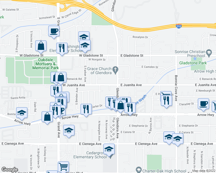map of restaurants, bars, coffee shops, grocery stores, and more near 1603 South Danehurst Avenue in Glendora