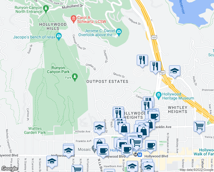 map of restaurants, bars, coffee shops, grocery stores, and more near 2130 Castilian Drive in Los Angeles