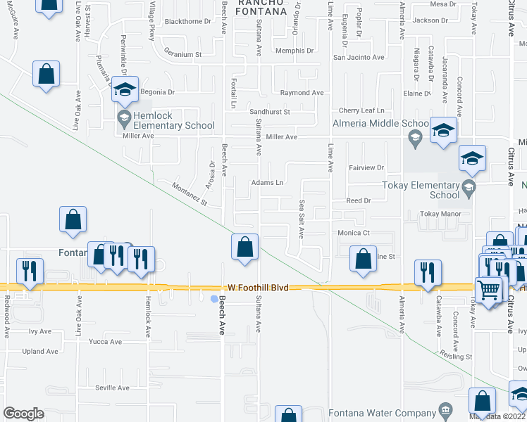 map of restaurants, bars, coffee shops, grocery stores, and more near 15469 Red Pepper Place in Fontana