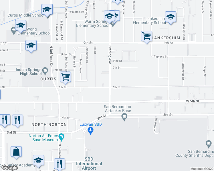 map of restaurants, bars, coffee shops, grocery stores, and more near 25678 6th Street in San Bernardino