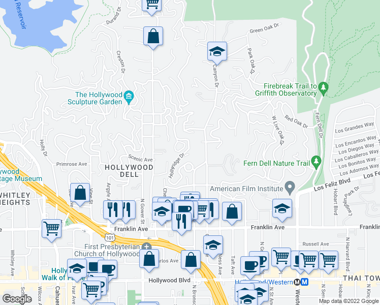 map of restaurants, bars, coffee shops, grocery stores, and more near 2338 Hollyridge Drive in Los Angeles