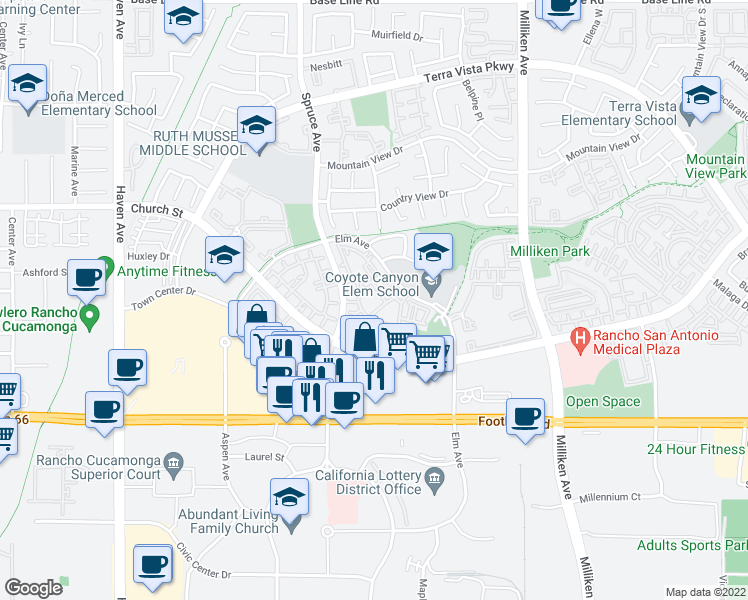 map of restaurants, bars, coffee shops, grocery stores, and more near 10950 Church Street in Rancho Cucamonga