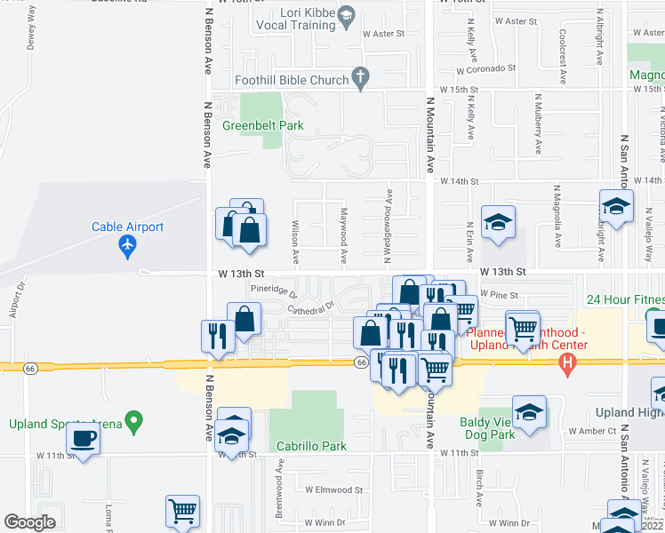 map of restaurants, bars, coffee shops, grocery stores, and more near 1377 West 13th Street in Upland