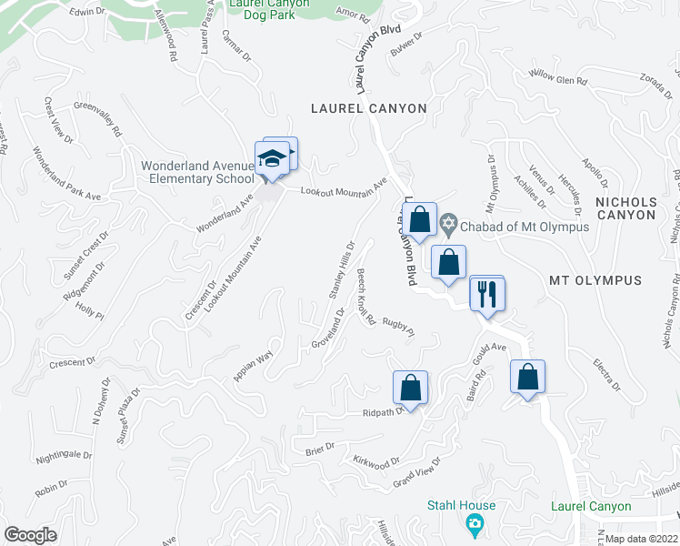 map of restaurants, bars, coffee shops, grocery stores, and more near Stanley Hills Drive in Los Angeles