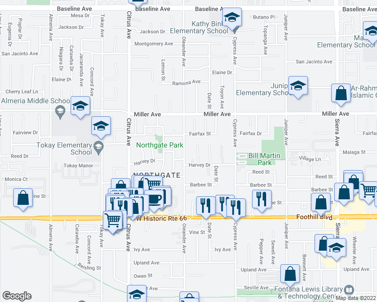 map of restaurants, bars, coffee shops, grocery stores, and more near 7831 Oleander Avenue in Fontana