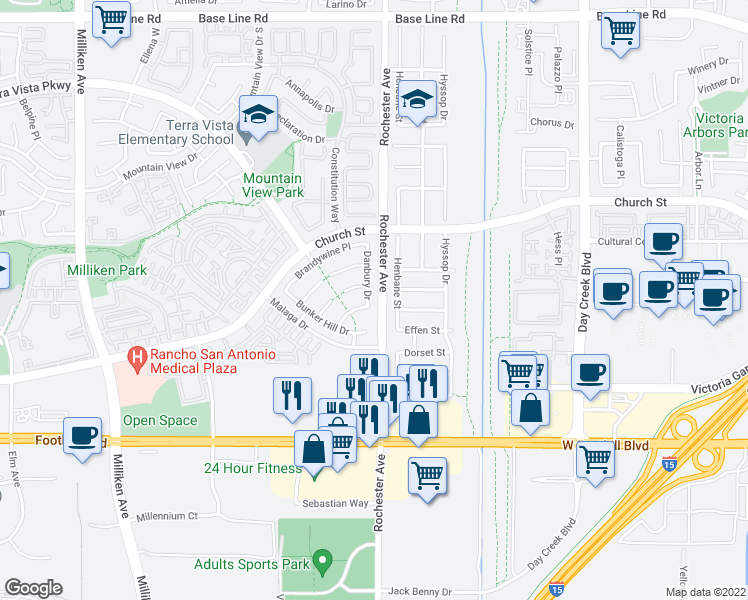 map of restaurants, bars, coffee shops, grocery stores, and more near 7841 Danbury Dr in Rancho Cucamonga