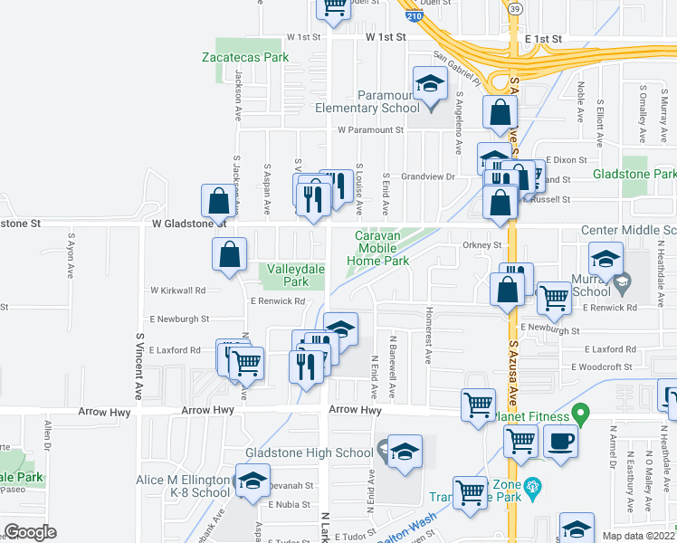 map of restaurants, bars, coffee shops, grocery stores, and more near 5534 North Lark Ellen Avenue in Azusa