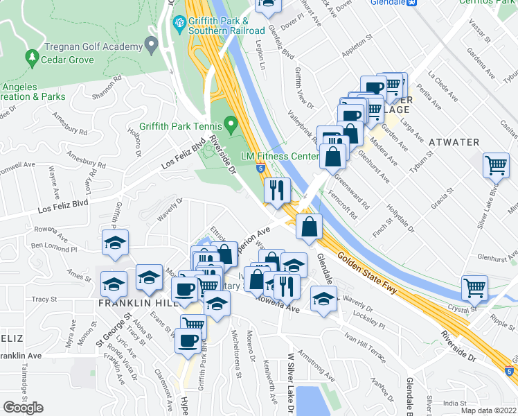 map of restaurants, bars, coffee shops, grocery stores, and more near 3168 Riverside Drive in Los Angeles