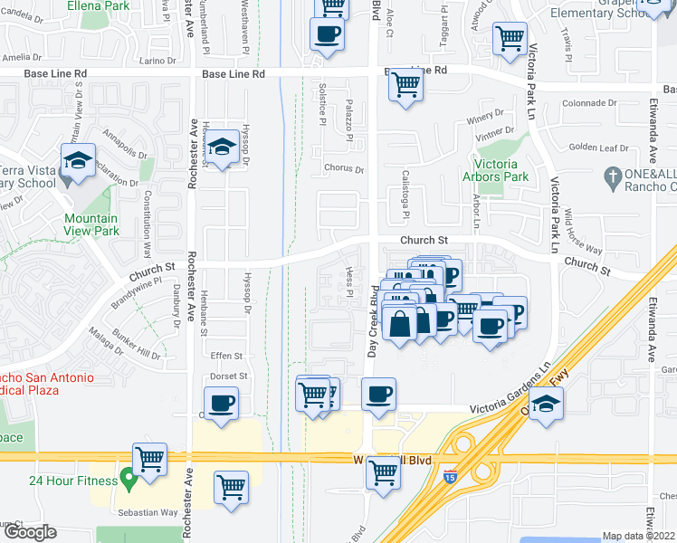 map of restaurants, bars, coffee shops, grocery stores, and more near 7712 Hess Place in Rancho Cucamonga
